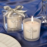 FashionCraft Silver Cross Themed Candle Favor