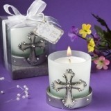 FashionCraft Regal Favor Collection Cross Themed Candle Holder