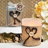 FashionCraft Rustic Burlap-Wrapped Glass Votive Holder