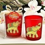 Ruby Red Good Luck Elephant Design Glass Votive Holder