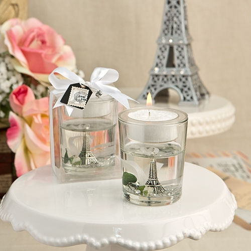 FashionCraft Eiffel Tower Gel Candle Holder with Rose and Leaf Detail
