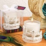 FashionCraft Frosted-Glass Votive Holder with Mardi Gras Mask Accent