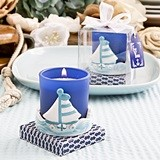 FashionCraft Frosted-Glass Votive Holder with Sail Boat Design