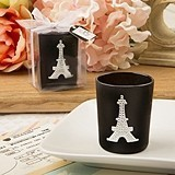 From Paris with Love Eiffel Tower Design Black Glass Votive Holder