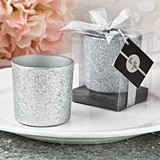 FashionCraft Bling Collection Silver Glitter Candle Votive Holder