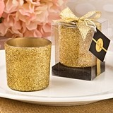 FashionCraft Bling Collection Gold Glitter Candle Votive Holder