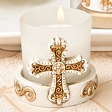 FashionCraft Vintage-Inspired Cross-Themed Candle Votive Holder