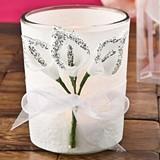 FashionCraft Silver Glitter Edged Calla Lily Design Candle Holder