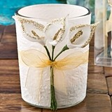 FashionCraft Gold Glitter Edged Calla Lily Design Candle Holder