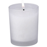 Perfectly Plain Collection Frosted Glass Candle Holder with Wax Candle