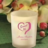 Silkscreened Personalized Frosted Glass Candle Holders (Birthday)