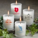 Silkscreened Personalized Frosted Glass Candle Holders with Wax