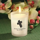 Silkscreened Personalized Frosted Glass Candle Holders (Religious)