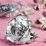 FashionCraft Realistic Rose Design Compact Mirror with Silver Finish