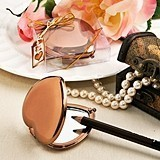 FashionCraft Vintage Metallic Bronze Heart-Shaped Compact Mirror