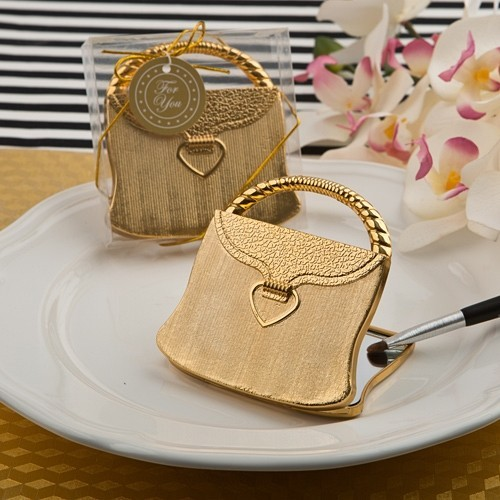 FashionCraft Elegant Reflections Collection Gold Purse Compact Mirror