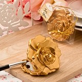 FashionCraft Ornate Rose Design Compact Mirror with Matte-Gold Finish