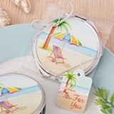 FashionCraft Colorful Beachside Design Metal & Epoxy Compact Mirror
