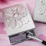 FashionCraft Angel-Themed Silver-Finish Compact Mirror