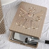 FashionCraft Angel-Themed Champagne-Gold-Finish Compact Mirror