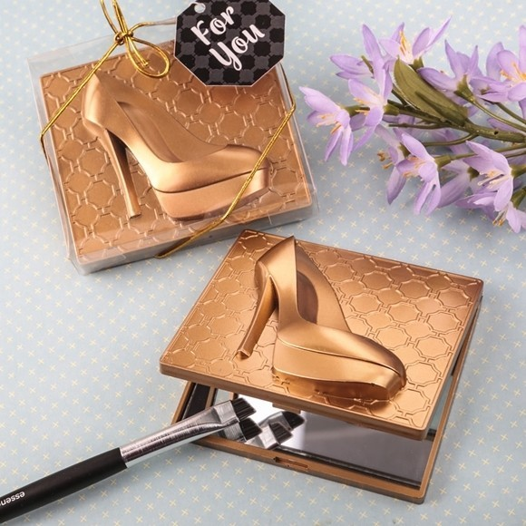 FashionCraft Rose Gold-Finish High Heel Shoe Design Compact Mirror