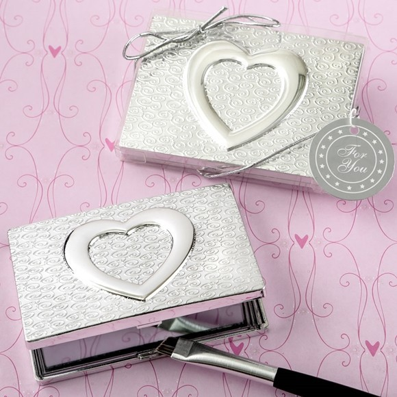 FashionCraft Heart-Themed Shiny Silver-Colored Compact Mirror