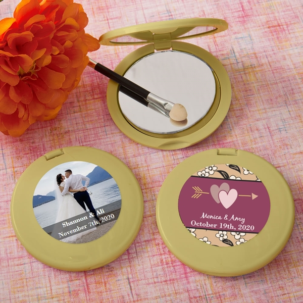 FashionCraft Expressions Collection Personalized Gold Compact Mirror