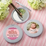 Personalized Baby Shower Expressions Collection Silver Compact Mirror