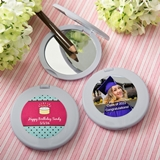 Personalized Celebrations Expressions Collection Silver Compact Mirror