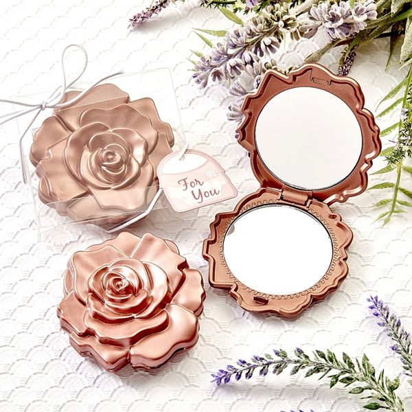 FashionCraft Dusty Rose-Colored Realistic Rose Design Compact Mirror