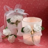 FashionCraft White Rose Candle Favor