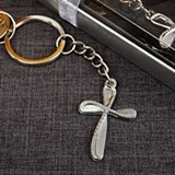 FashionCraft Metal Cross-Shaped Key Chain with Beaded Design
