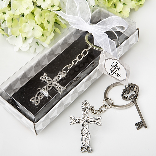 FashionCraft Delicate Shiny Silver-Finish Intertwined-Cross Keychain