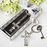Delicate Shiny Silver-Finish Intertwined-Cross Keychain