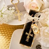 Dramatic Glittering Gold-Finish Intertwined Design Cross Keychain