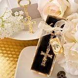 Dramatic Glittering Gold-Finish Intertwined Design Cross Keychain