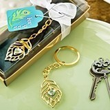 FashionCraft Gold-Metal Peacock Feather Design Keychain