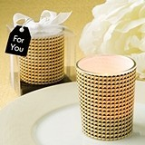 FashionCraft Modern Graphic Design Glass Candle Votive Holder in Gold