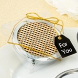 FashionCraft Modern Gold Graphic Design Metal Compact Mirror
