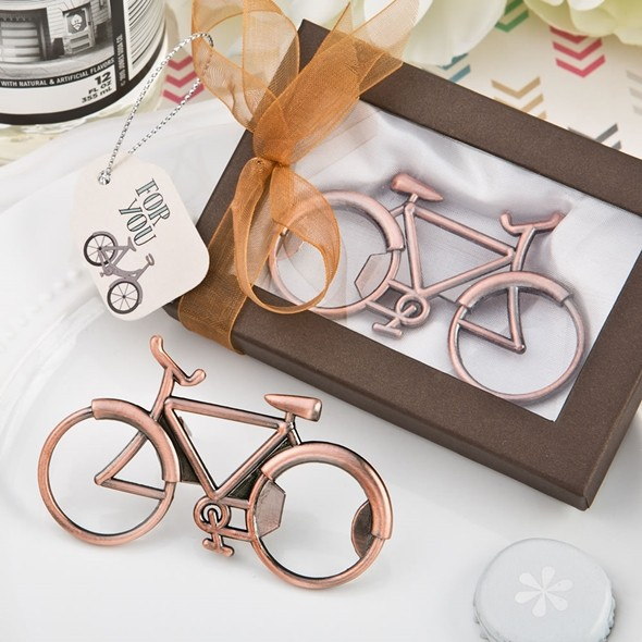 FashionCraft Antique-Copper-Colored Metal Bicycle Design Bottle Opener