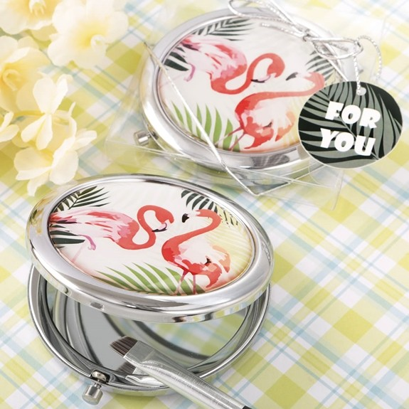 FashionCraft Tropical Chic Flamingo Design Metal Compact Mirror