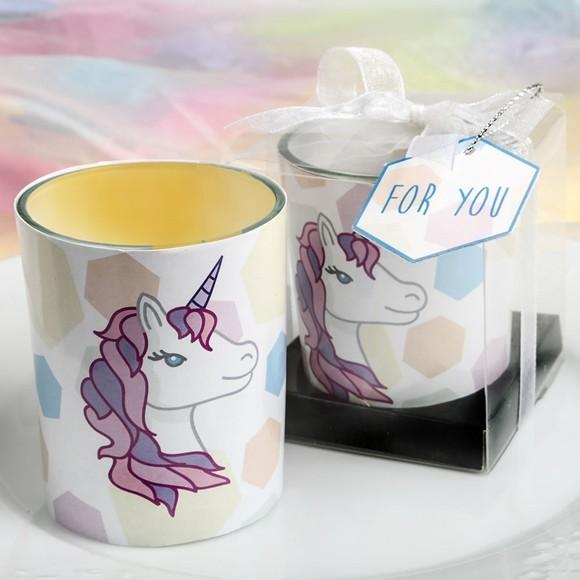 FashionCraft Unicorn-Themed Glass Votive Candle Holder