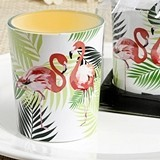 FashionCraft Tropical Chic Flamingo-Themed Glass Votive Candle Holder