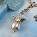 Angel-Themed Pearl and Crystal Keychain with Pewter Angel Accent Wings