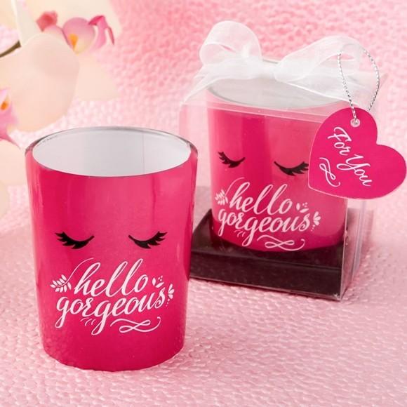 "FashionCraft Flirty "" Hello Gorgeous"" Hot Pink Glass Votive"