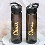 Cheers Themed Black Translucent Water Bottle Made of BPA-Free Tritan
