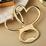 FashionCraft Gold-Finish-Metal Double Heart Design Bottle Opener