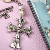 FashionCraft Silver-Finish-Metal Ornate Flared Cross Design Keychain