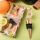 FashionCraft Gold-Metal-Finish Citrus Slice Topped Bottle Stopper