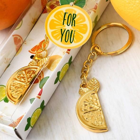 FashionCraft Gold-Metal-Finish Citrus Slice Key Chain